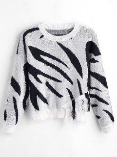 Drop Shoulder Graphic Fringed Sweater - White And Black