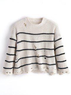 Übergröße Zerrissener Pullover Mit Streifen  - Streifen