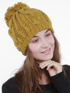 Plain Chunky Cable Knit Pom Hat - Ginger