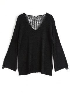 V Neck Distressed Knitwear - Black