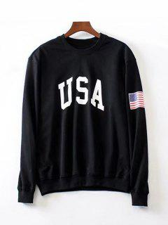 Oversized American Flag Letter Sweatshirt - Black