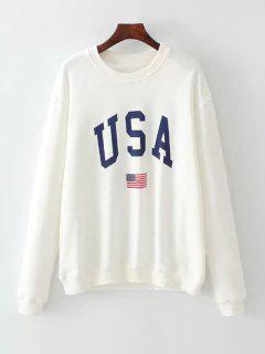 Oversized American Flag Letter Sweatshirt - White