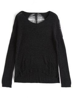 Side Slit Distressed Knitwear - Black