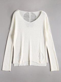 Side Slit Distressed Knitwear - White
