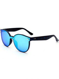 Outdoor Full Frame Mirror Butterfly Sunglasses - Blue