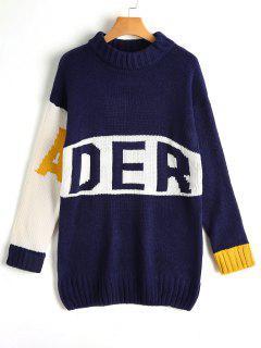 Oversized Contrasting Letter Sweater - Purplish Blue