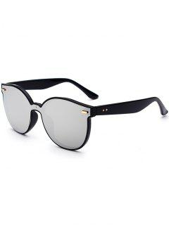 Outdoor Full Frame Mirror Butterfly Sunglasses - Silver