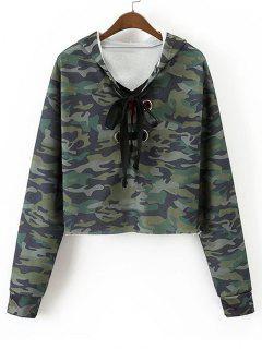 Sweat à Capuche Camouflage à Rose Brodée à Lacets - Vert Armée M