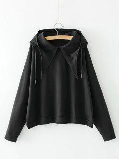 Casual Long Sleeve Oversized Hoodie - Black