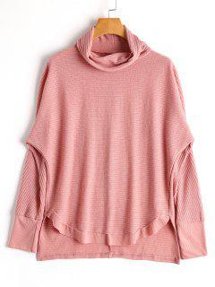 High Low Turtleneck Knitwear - Pink S