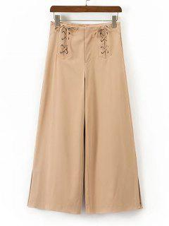 High Waisted Lace Up Wide Leg Pants - Khaki S