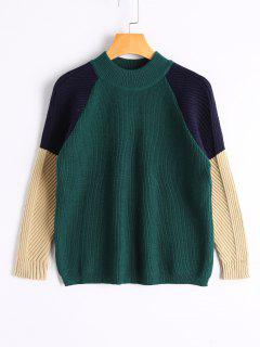 Loose Color Block Mock Neck Sweater - Green