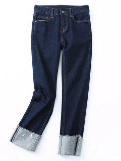 Skinny Rolled Cuff Frayed Pencil Jeans - Denim Blue S