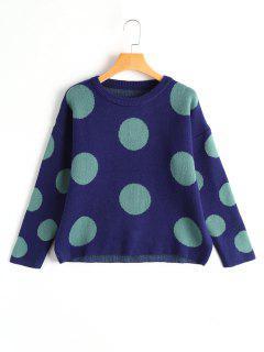 Oversized Polka Dot Sweater - Deep Blue