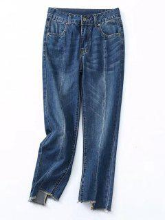 Frayed Asymmetrical Hem Pencil Jeans - Denim Blue M