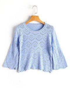 Flare Sleeve Sheer Scalloped Sweater - Light Blue