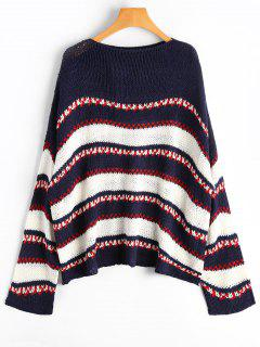 Drop Shoulder Contrast Sweater - Purplish Blue