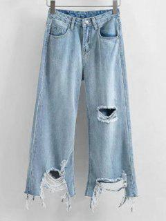 Frayed Hem Distressed Wide Leg Jeans - Light Blue L