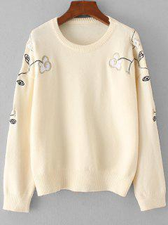Drop Schulter Bestickte Pullover - Beige (weis)