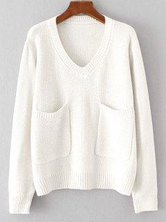 Bolsillos Suéter Con Cuello En V Suelto - Blanco