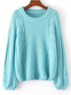 Loose Lantern Sleeve Sheer Sweater - Light Blue