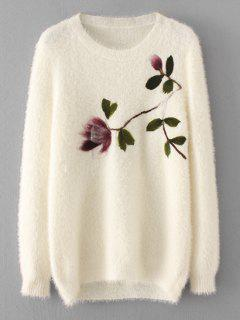 Loose Floral Fuzzy Sweater - White