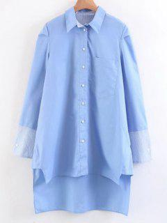 Chemise Longues Manches à Rayures Et Bas En Escalier - Bleu Léger  S