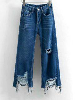 Frayed Hem Distressed Wide Leg Jeans - Deep Blue S