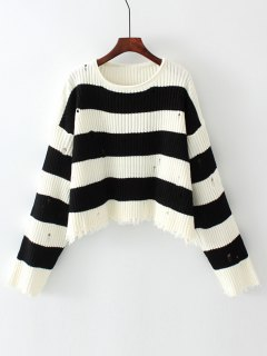 Oversized Stripes Frayed Sweater - Stripe M