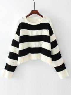 Übergroße Streifen Frayed Sweater - Streifen  S