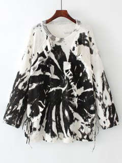 Graphic Oversized Ruffles Sweater - White And Black M