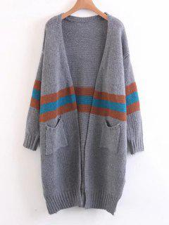 Open Front Contrasting Stripes Cardigan - Gray