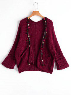 Tassels Embellished Open Front Chunky Cardigan - Deep Red