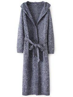 Hooded Belted Heathered Cardigan - Gray