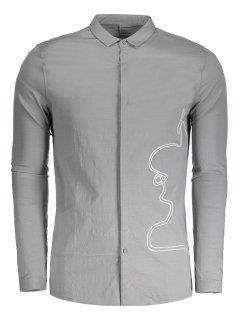 Geflochtenes Herrenhemd - Grau Xl