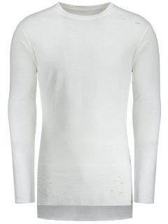 Distressed High Low Hem Longline T-shirt - White 2xl