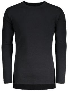 Distressed High Low Hem Longline T-shirt - Black L
