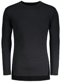 Distressed High Low Hem Longline T-shirt - Black M