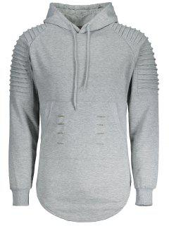 Ruches Distressed Longline Hoodie - Gray L