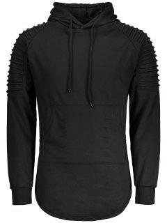 Ruches Distressed Longline Hoodie - Black 2xl