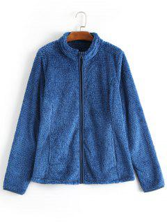 Zipper Fluffy Coat - Blue S