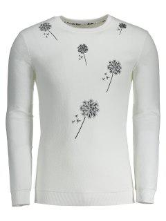 Dandelion Embroidered Sweatshirt - White Xl