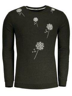 Dandelion Embroidered Sweatshirt - Army Green Xl
