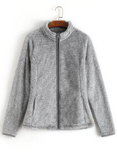 Zipper Fluffy Coat - Light Gray S