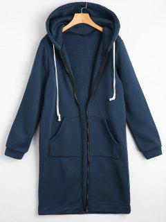 Zippered Longline Hoodie With Pockets - Cadetblue M