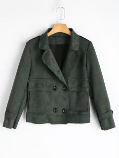 Double-breasted Faux Sude Cropped Jacket - Army Green M