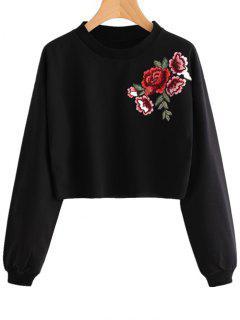 Floral Patched Crew Neck Sweatshirt - Black M