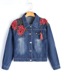Cropped Floral Embroidered Denim Jacket - Denim Blue M