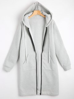Zippered Longline Hoodie With Pockets - Light Gray M