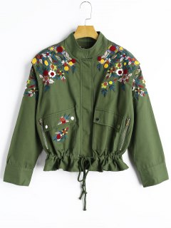 Drawstring Waist Floral Embroidered Jacket - Army Green S